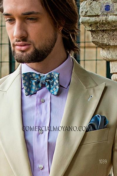 Sky blue-beige bow tie in jacquard silk fabric 10272-9000-5595 Ottavio Nuccio Gala.