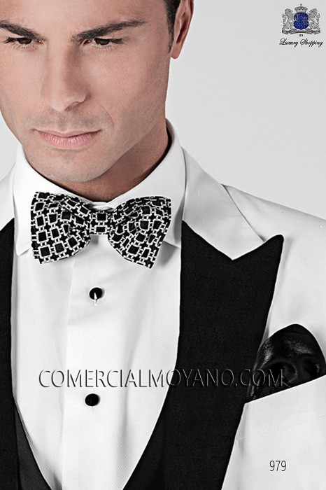 Black and white silk bow tie 10272-9000-8092 Ottavio Nuccio Gala.