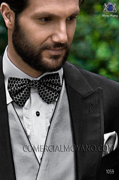 Black and gray silk bow tie 10272-9000-8096 Ottavio Nuccio Gala.