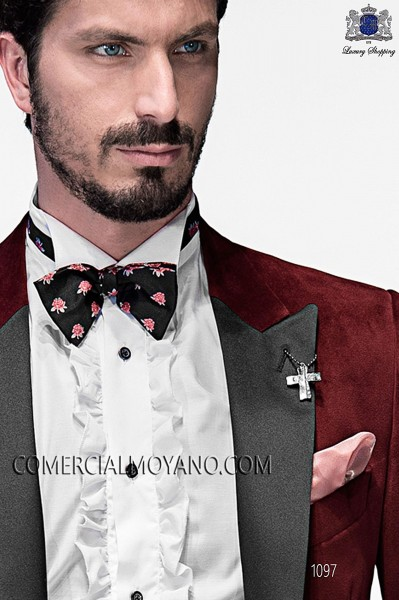 Black with flowers silk bow tie 10272-9000-8098 Ottavio Nuccio Gala.