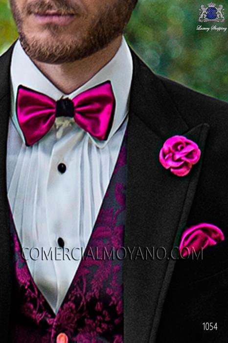 Black and fuchsia bicolor bow tie 10289-2640-3580 Ottavio Nuccio Gala.