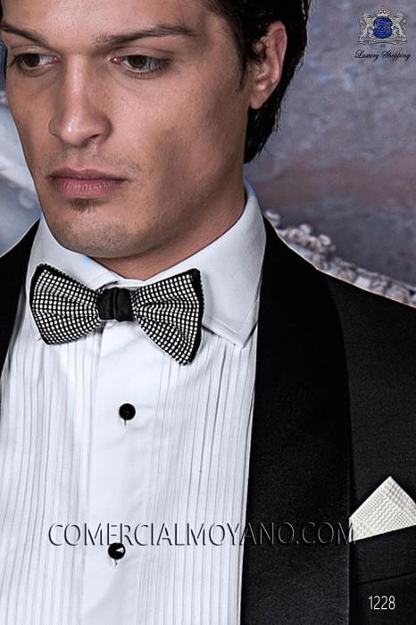Silver bicolor bow tie 10289-2842-8580 Ottavio Nuccio Gala.