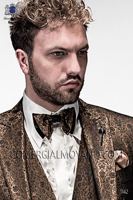 Old gold bicolor bow tie 10289-5175-2100 Ottavio Nuccio Gala.