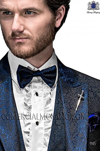 Blue bicolor bow tie 10289-5175-5000 Ottavio Nuccio Gala.