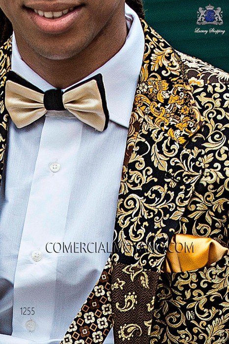 Black and beige satin bow tie 10289-5201-1380 Ottavio Nuccio Gala.