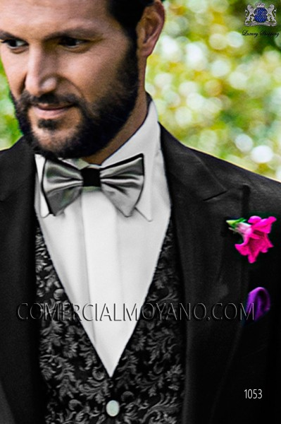 Black and gray bicolor bow tie 10289-5201-7180 Ottavio Nuccio Gala.
