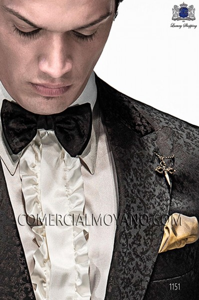 Black and golden bicolor bow tie 10289-5396-8200 Ottavio Nuccio Gala.