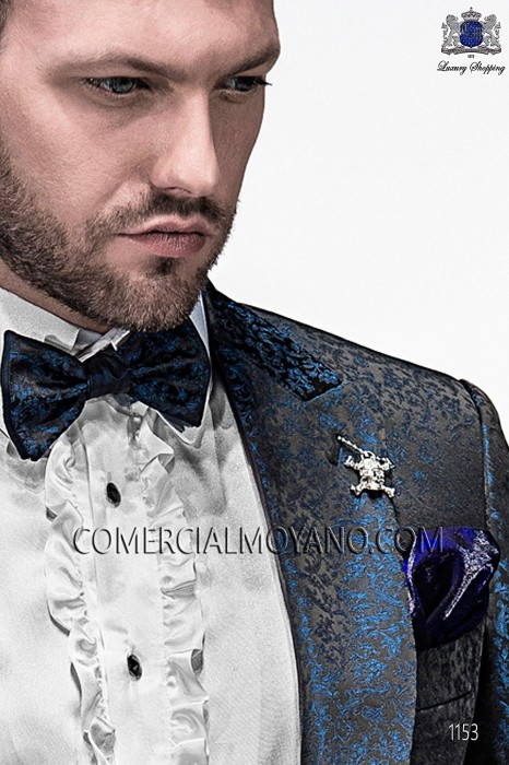 Black and blue bicolor bow tie 10289-5396-8650 Ottavio Nuccio Gala.