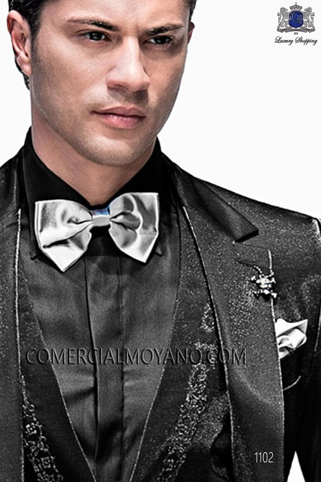 Gray satin bow tie and hanky 56572-0032-7000 Ottavio Nuccio Gala.