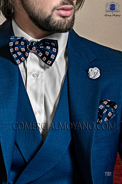Bow tie and handkerchief blue silk paintings 56572-1921-5000 Ottavio Nuccio Gala.