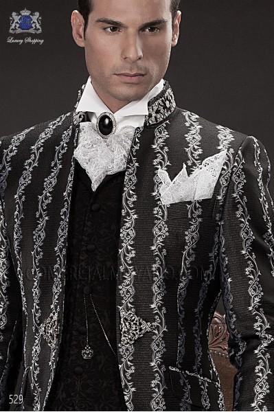 Black period waistcoat in brocade fabric
