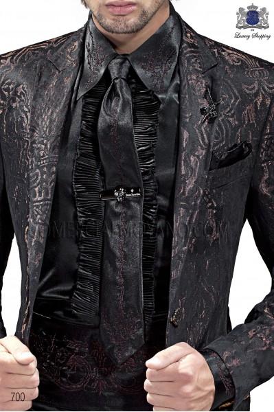 Black satin tie with bronze drako embroidry and handkerchief