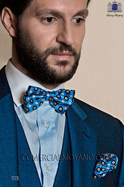 Sky blue jacquard silk bow tie with handkerchief 56572-1924-5500 Ottavio Nuccio Gala.