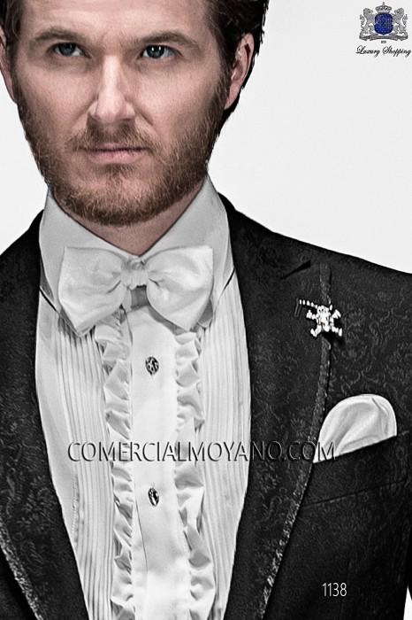 White lurex bow tie and hanky 56572-2645-1000 Ottavio Nuccio Gala.