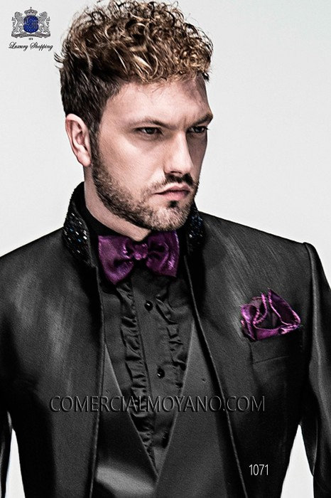 Puple lurex bow tie and hanky 56572-2645-3300 Ottavio Nuccio Gala.