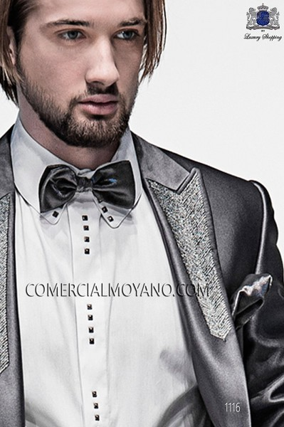 Gray lurex bow tie and hanky 56572-2645-7000 Ottavio Nuccio Gala.