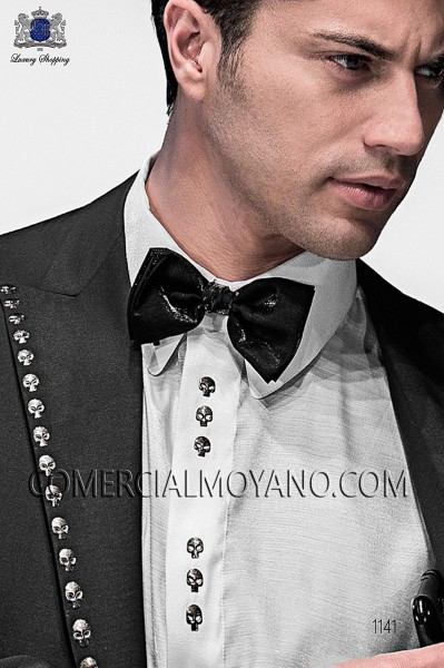 Black lurex bow tie and hanky 56572-2645-8000 Ottavio Nuccio Gala.