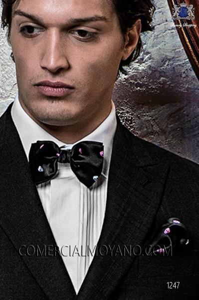 Black/fuchsia silk skull bow tie with handkerchief 56572-2860-8400 Ottavio Nuccio Gala.