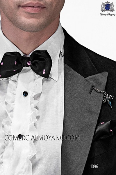 Black silk pink skull bow tie and hanky 56572-2860-8600 Ottavio Nuccio Gala.