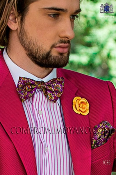 Mauve patterned designer silk bow tie with handkerchief 56572-4068-3600 Ottavio Nuccio Gala.