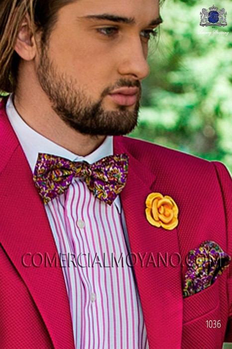 Mauve patterned designer silk bow tie with handkerchief 56572-4068-3600 Ottavio Nuccio Gala.