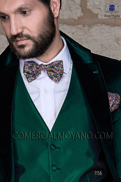 Green silk bow tie and hanky 56572-4068-4200 Ottavio Nuccio Gala.