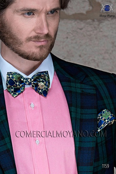Blue silk bow tie and hanky 56572-4068-5100 Ottavio Nuccio Gala.