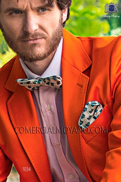 White-sky blue silk bow tie and hankerchief set 56572-9000-1195 Ottavio Nuccio Gala.