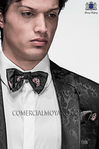 Black silk bow tie and hanky 56572-9000-8094 Ottavio Nuccio Gala.