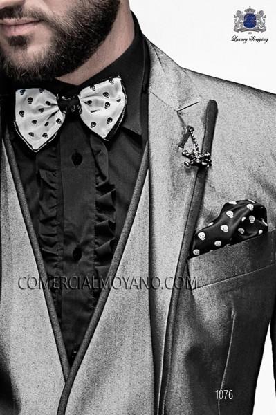 Skulls bow tie and hanky 56589-4140-1080 Ottavio Nuccio Gala.