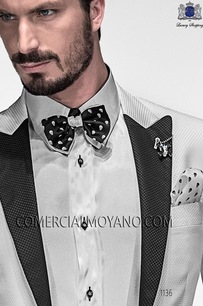 Black and white skulls bow tie and hanky 56589-4140-8010 Ottavio Nuccio Gala.