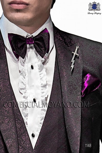 Purple and black bicolor bow tie and handkerchief 56589-5136-3333 Ottavio Nuccio Gala.