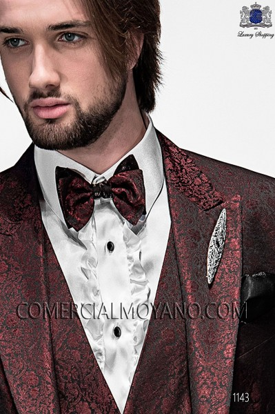 Maroon and black bicolor bow tie and handkerchief 56589-5175-3080 Ottavio Nuccio Gala.