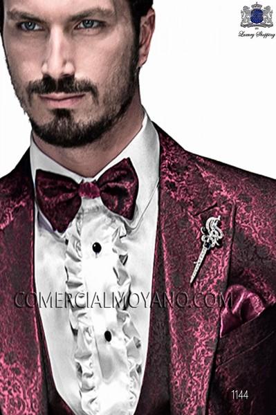 Bordeaux and black bicolor bow tie and handkerchief 56589-5175-3336 Ottavio Nuccio Gala.
