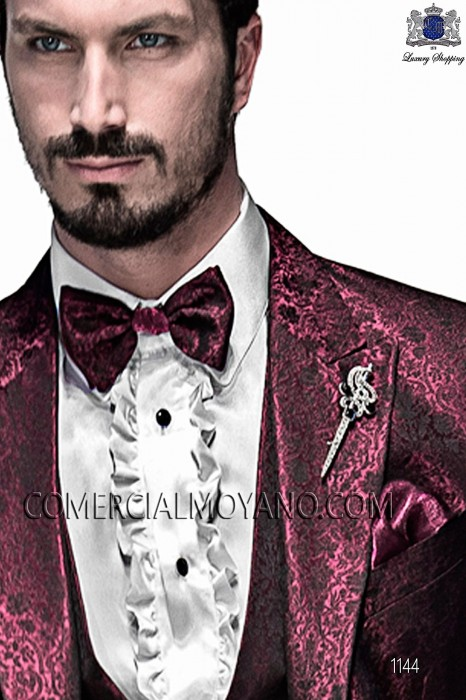 Bordeaux and black bicolor bow tie and handkerchief 56589-5175-3336 Ottavio Nuccio Gala.