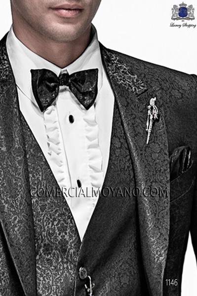 Gray and black bicolor bow tie and handkerchief 56589-5175-7080 Ottavio Nuccio Gala.