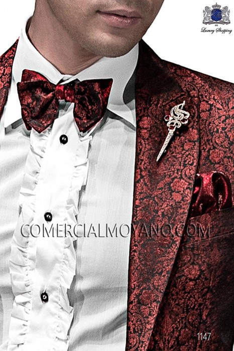 Red and black bicolor bow tie and handkerchief 56589-5175-8331 Ottavio Nuccio Gala.