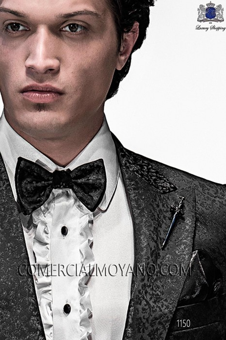Black and silver bicolor bow tie and handkerchief 56589-5396-8100 Ottavio Nuccio Gala.