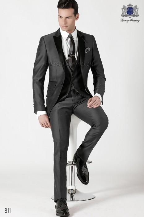 Italian gray silk men fashion suit 3 pieces, ONGala.