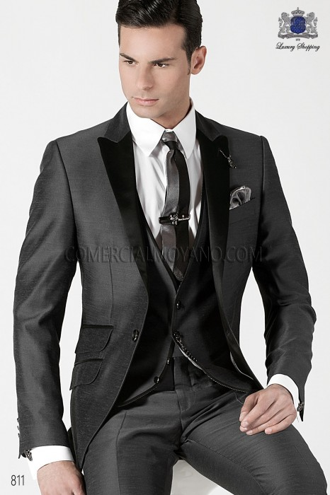 Italian gray silk men fashion suit 3 pieces, ONGala.