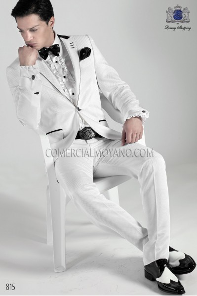 Traje moda italiano blanco tejido dama 815 Ottavio Nuccio Gala