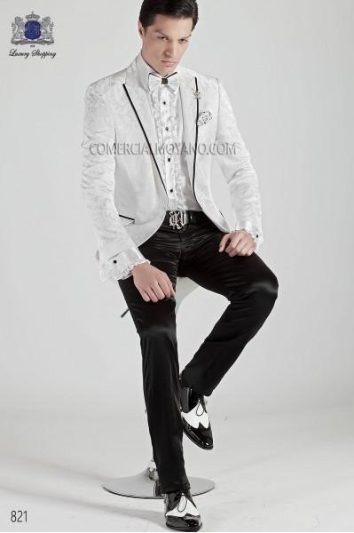 Traje moda italiano blanco brocado 821 Ottavio Nuccio Gala