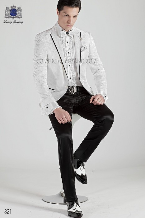 Italian white brocade men fashion suit 821 Ottavio Nuccio Gala