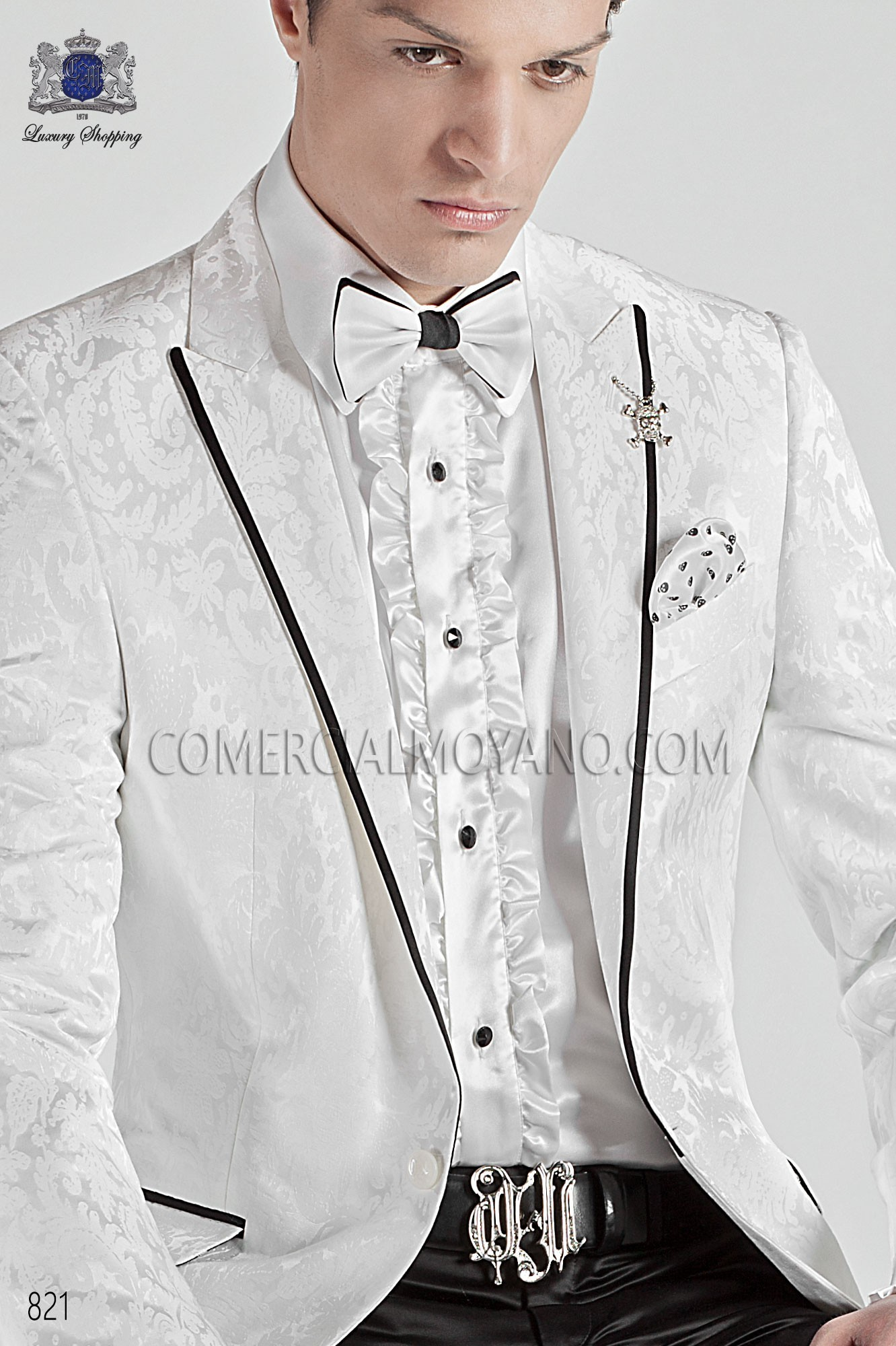 Italian emotion white men wedding suit, model: 821 Ottavio Nuccio Gala Emotion Collection