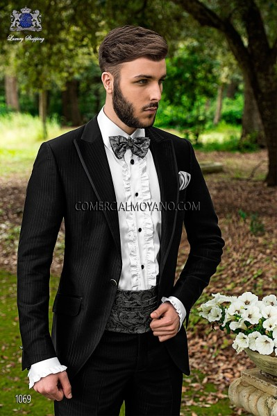 Gray flowers cummerbund and bow tie 57511-9000-7087 Ottavio Nuccio Gala.