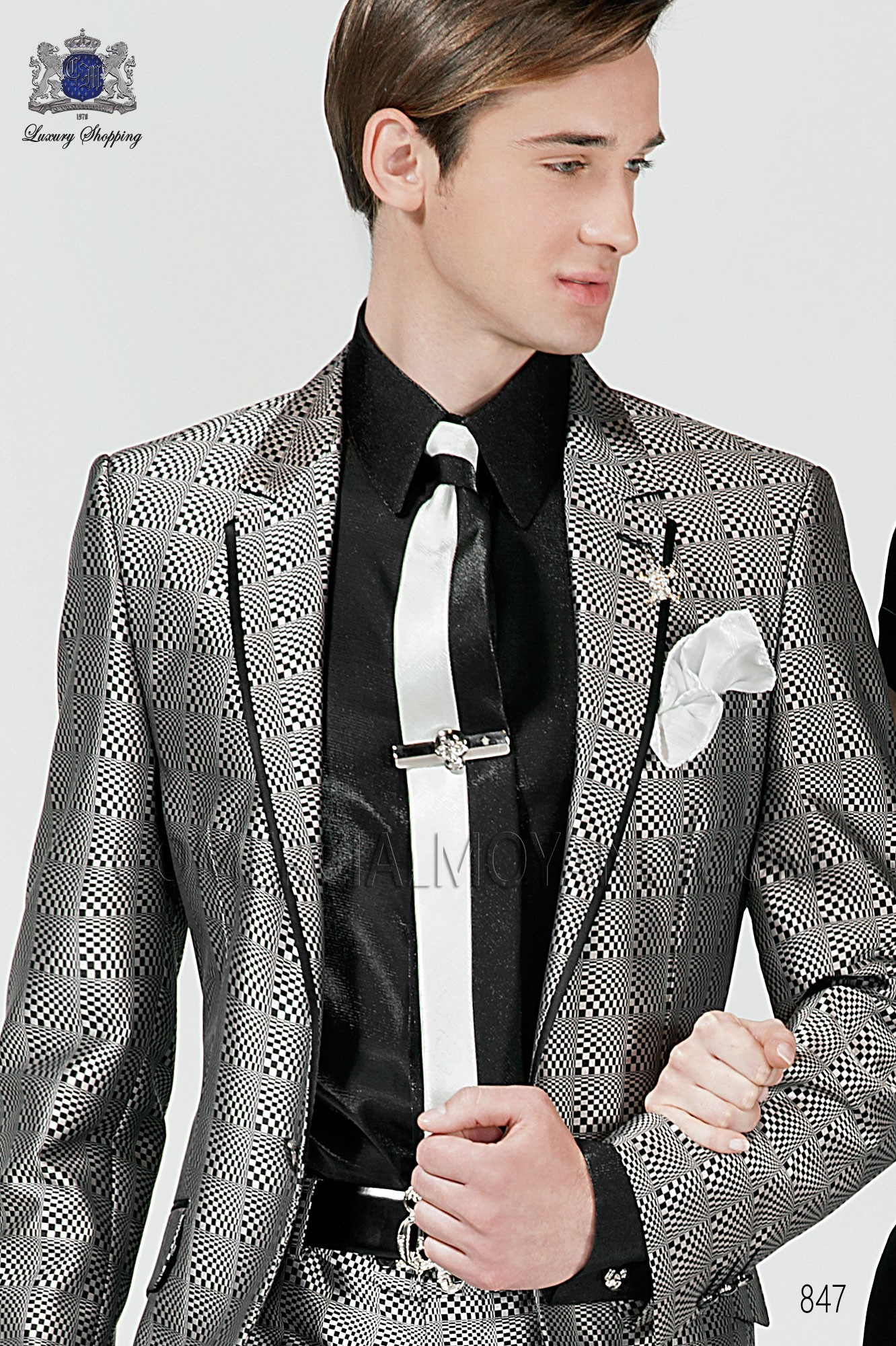 Italian emotion white-black men wedding suit, model: 847 Ottavio Nuccio Gala Emotion Collection