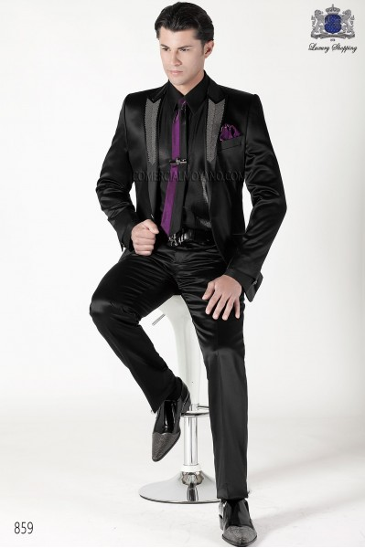 Italian black satin men fashion suit 859 Ottavio Nuccio Gala