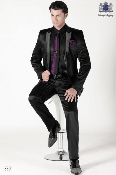 Traje moda italiano negro raso 859 Ottavio Nuccio Gala