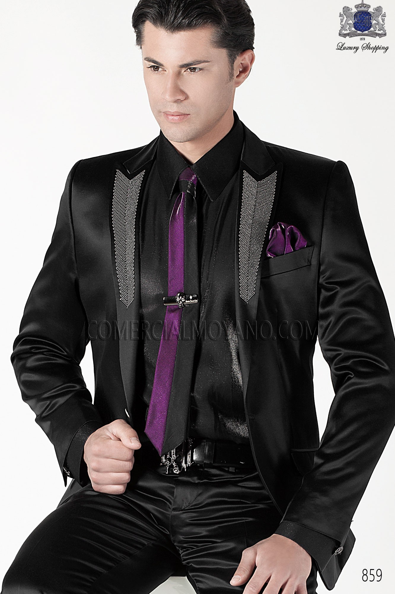 Italian emotion black men wedding suit, model: 859 Ottavio Nuccio Gala 2017 Emotion Collection