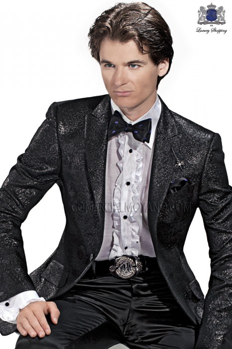 Italian black brocade men fashion suit 60435 Ottavio Nuccio Gala